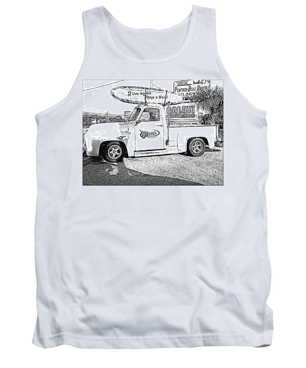 Black And White Tank Top featuring the photograph Black And White Sketch Truck by Michelle Powell
