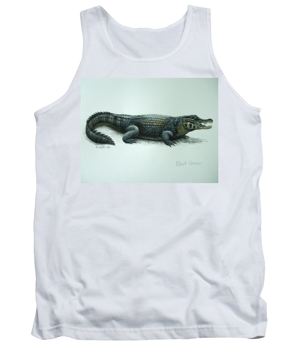 Black Caiman Tank Top featuring the painting Black Caiman by Christopher Cox