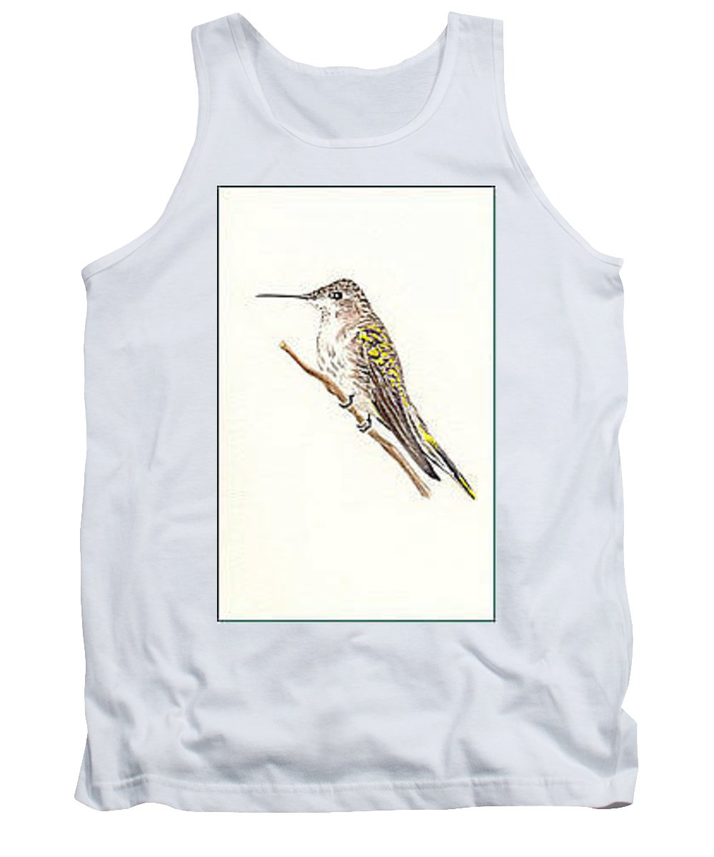 Birds Tank Top featuring the painting Black Chinned Hummingbird by Michael Vigliotti