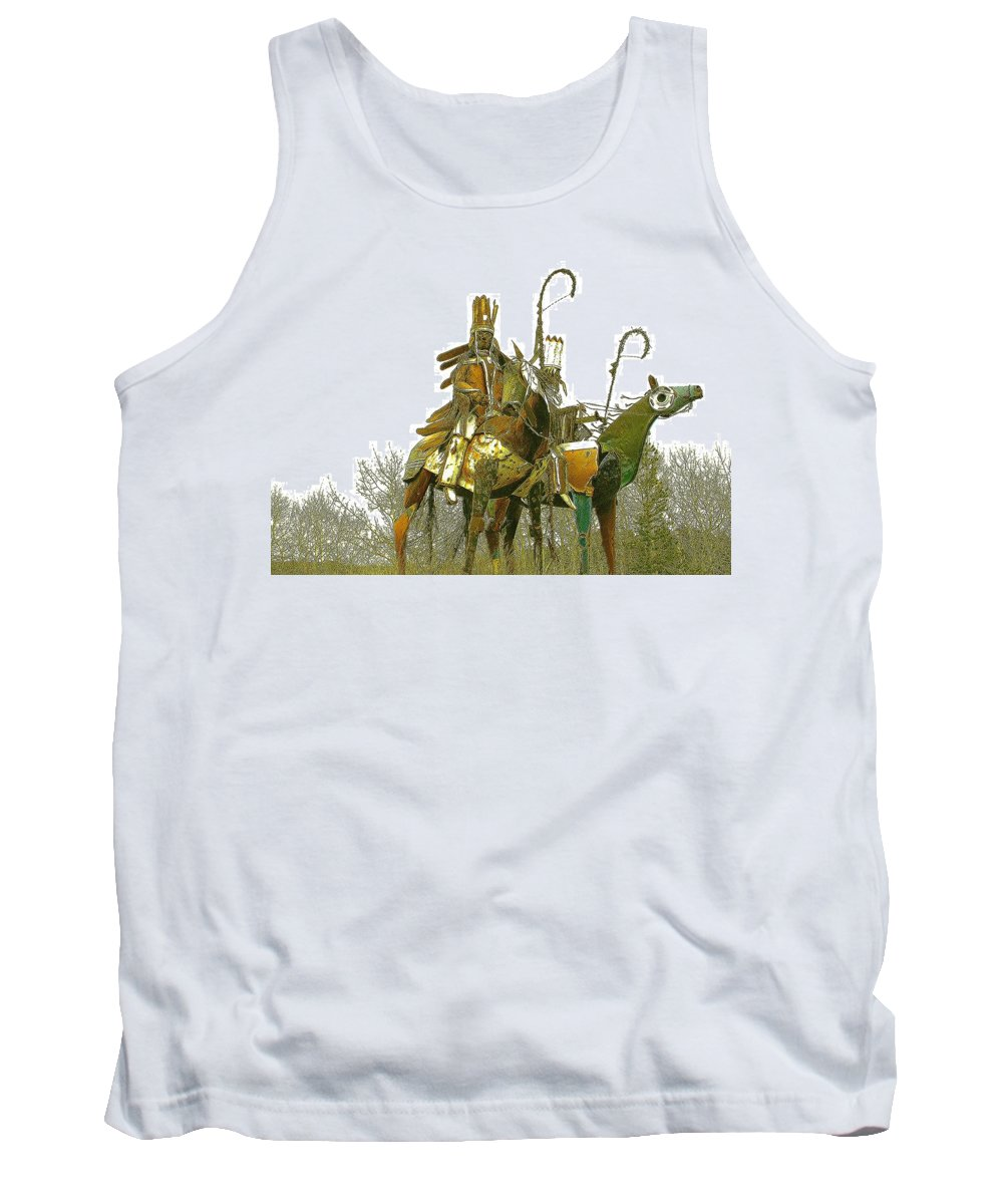 Native American Tank Top featuring the photograph Blackfeet Wariors by Nelson Strong