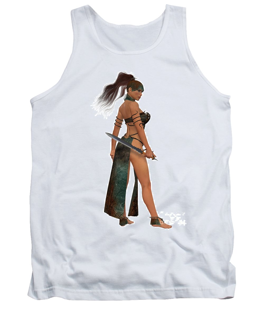 Warrior Tank Top featuring the painting Blackthorn Woman Warrior by Corey Ford