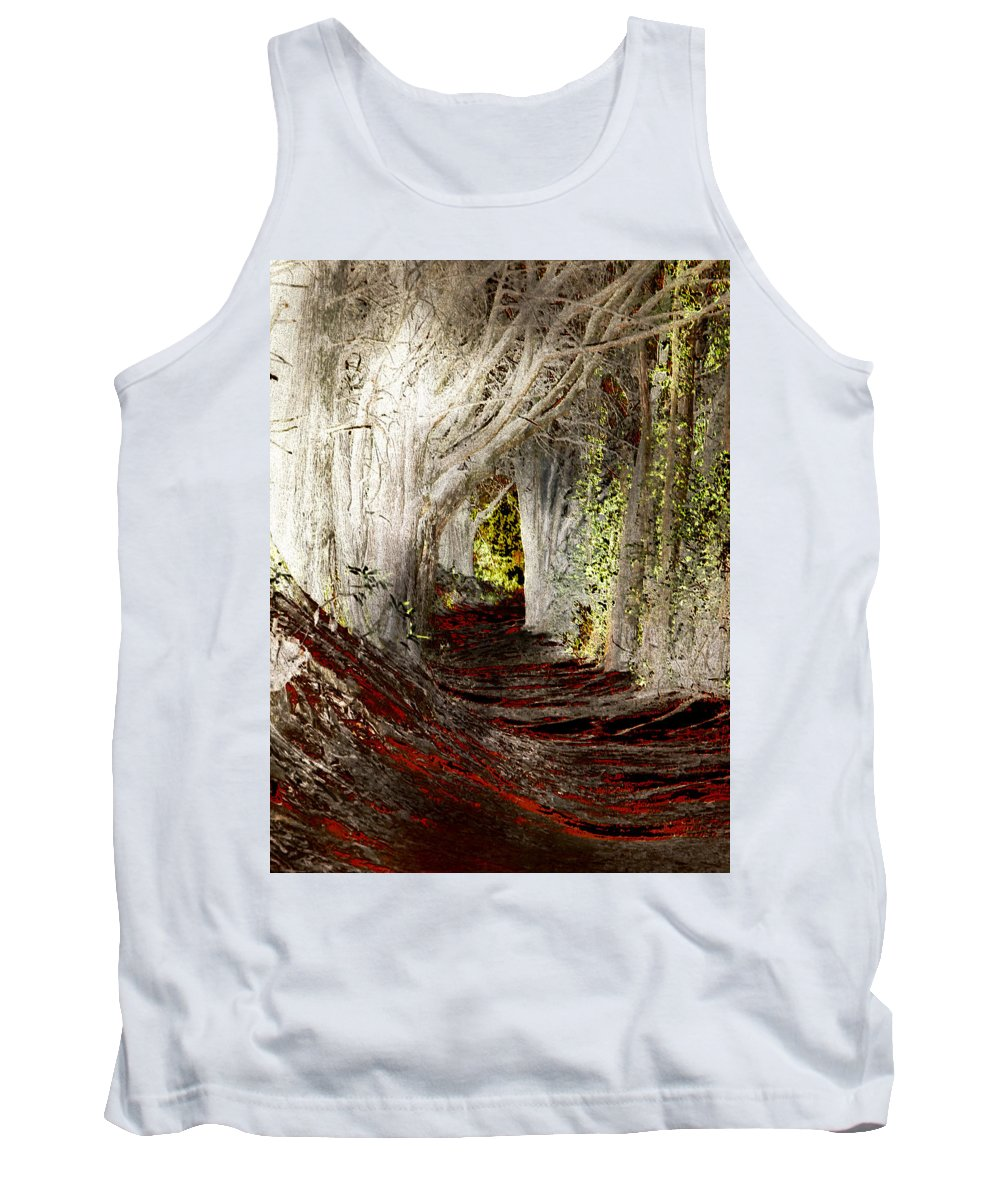 Tree Tank Top featuring the photograph Blood Redwoods by Karen W Meyer