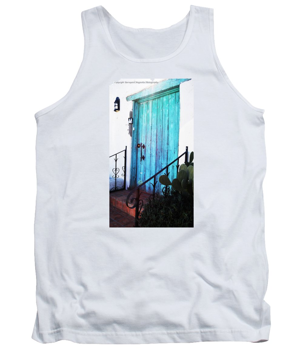 Blue Tank Top featuring the photograph Blue Door by Alyssa Fleming