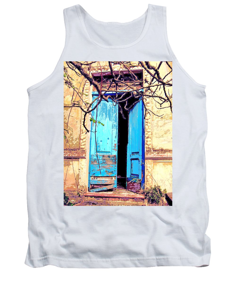 Blue Doors Tank Top featuring the mixed media Blue Doors In Tuscany by Dominic Piperata