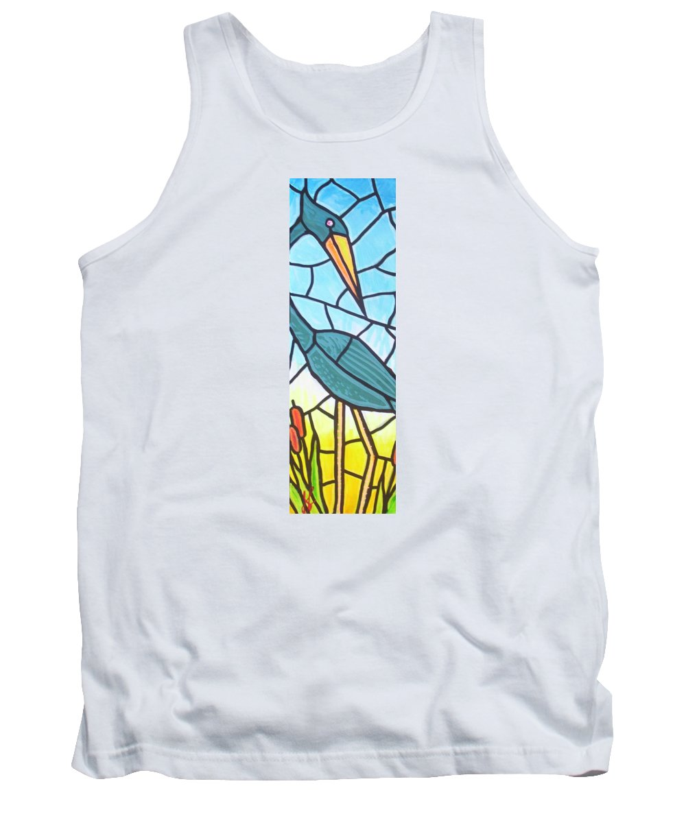 Heron Tank Top featuring the painting Blue Heron by Jim Harris