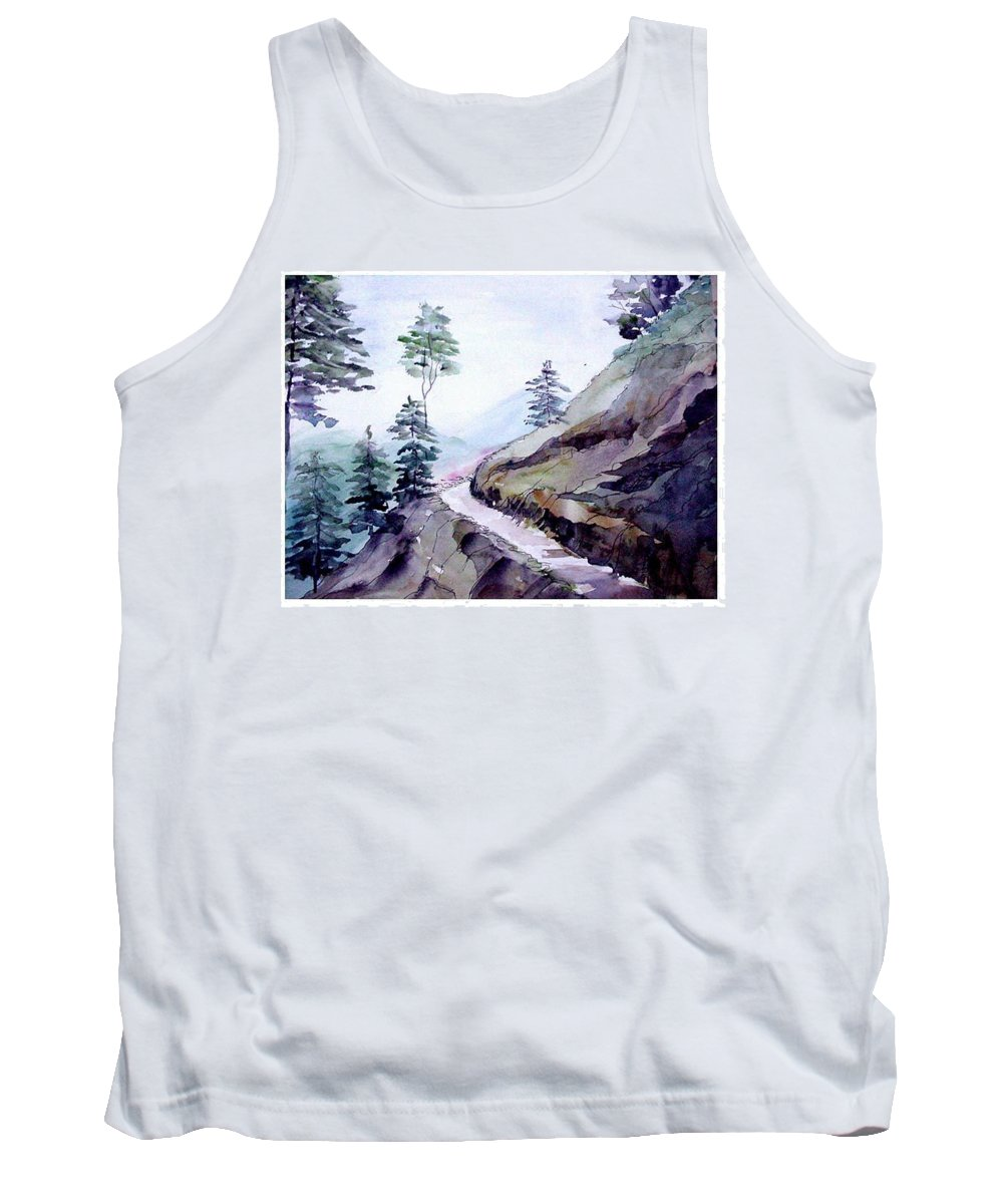 Landscape Tank Top featuring the painting Blue Hills by Anil Nene