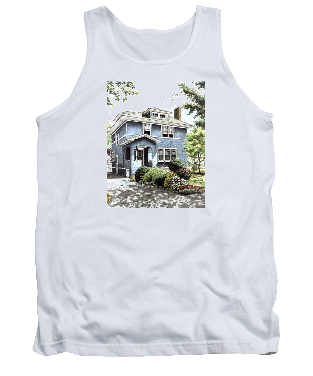 House Tank Top featuring the drawing Blue House by Mary Palmer