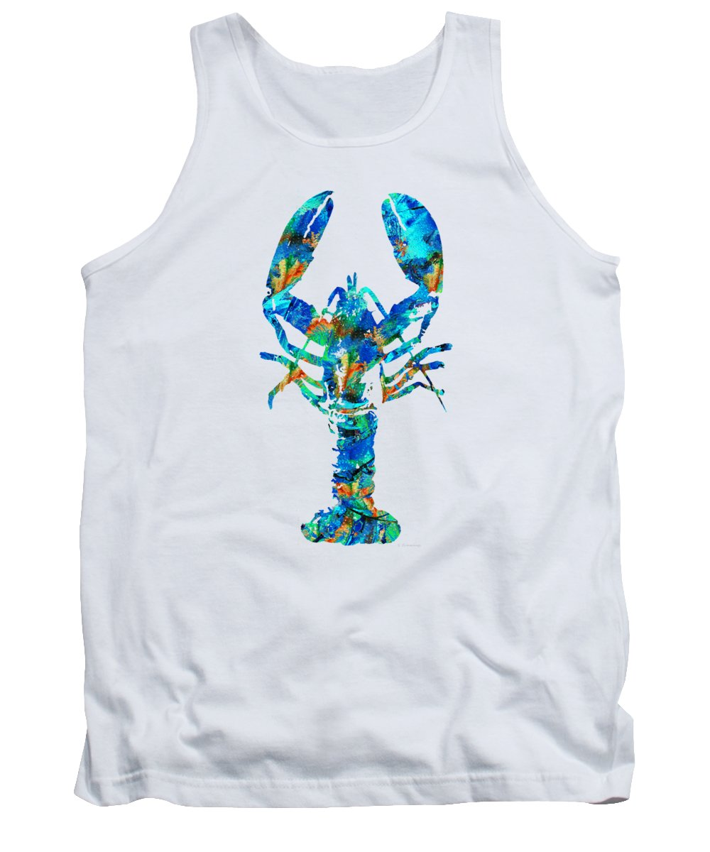 Lobster Tank Top featuring the painting Blue Lobster Art by Sharon Cummings by Sharon Cummings