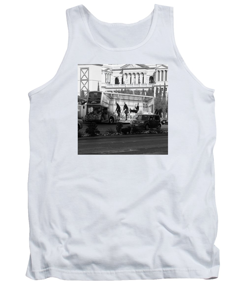 Robert Melvin Tank Top featuring the photograph Blue Man Group On Bus by Robert Melvin