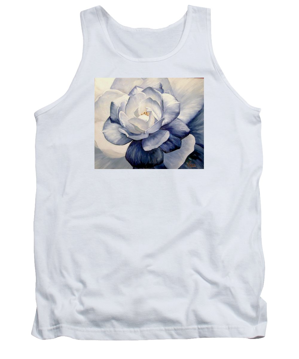 Flower Macro Nature Blue Gardenia Tank Top featuring the painting Blue by Natalia Tejera