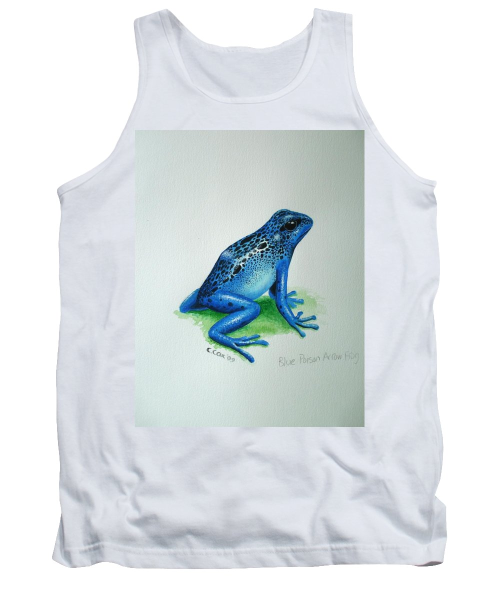 Poison Arrow Frog Tank Top featuring the painting Blue Poison Arrow Frog by Christopher Cox