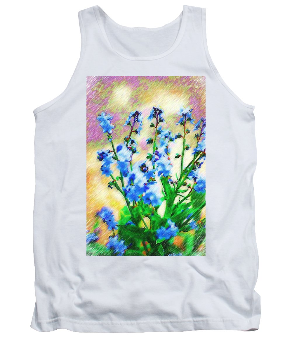 Blue Tank Top featuring the photograph Blue Wildflowers by Donna Bentley