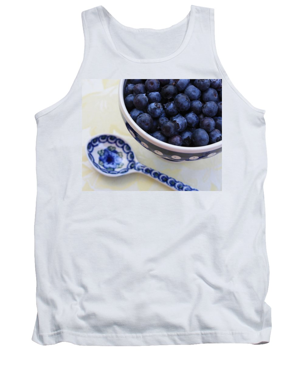 Still Life Of Fruit Tank Top featuring the photograph Blueberries And Spoon by Carol Groenen