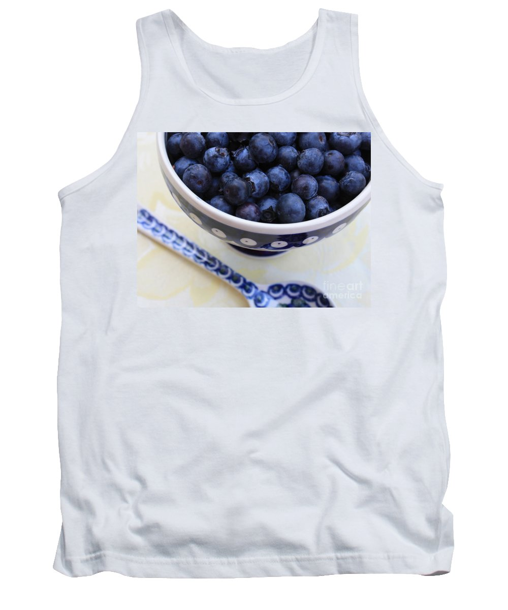 Food Tank Top featuring the photograph Blueberries In Polish Pottery Bowl by Carol Groenen