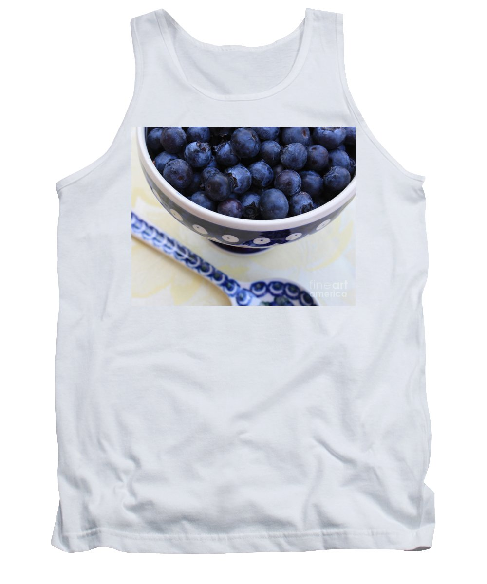 Food Tank Top featuring the photograph Blueberries With Spoon by Carol Groenen