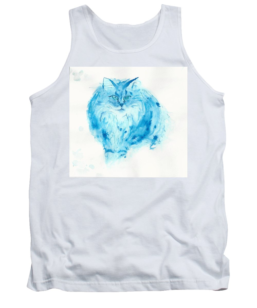 Blue Tank Top featuring the painting Blues Cat by James K Wilkinson