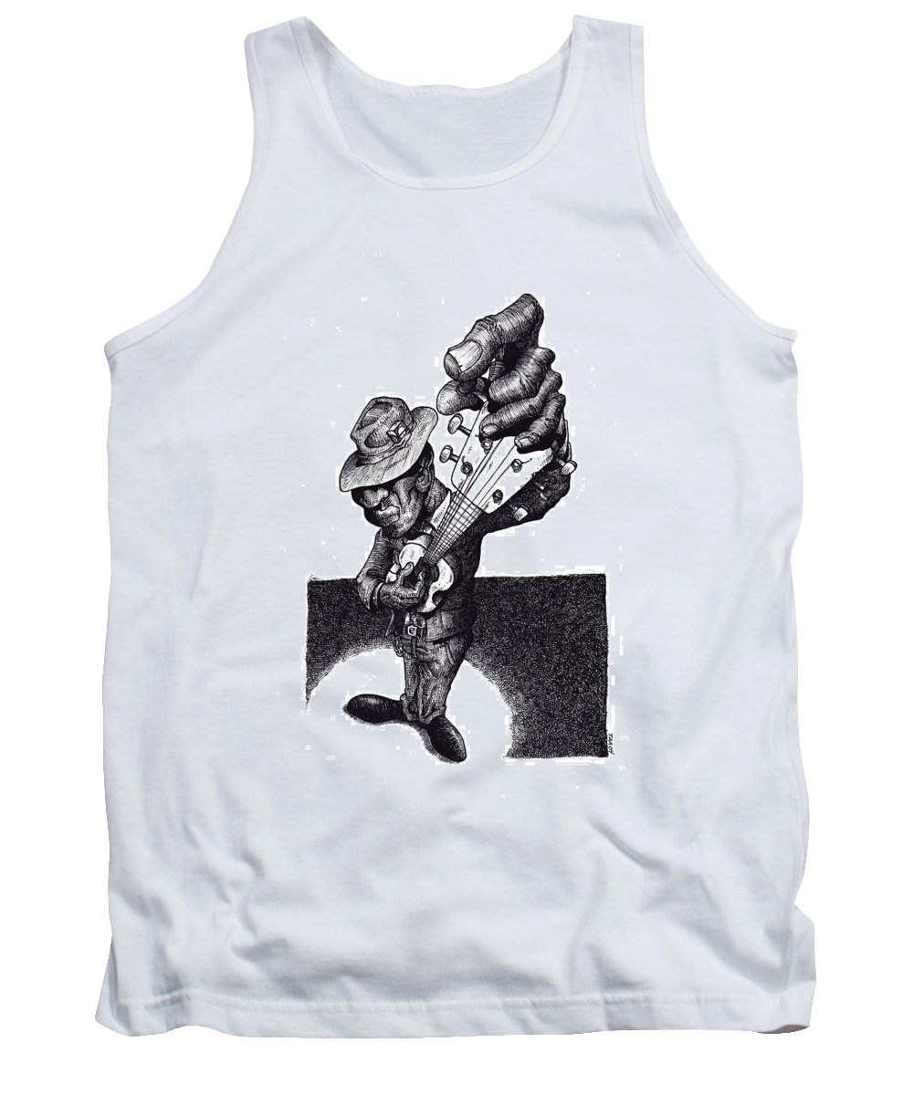 Blues Tank Top featuring the drawing Blues Guitar by Tobey Anderson