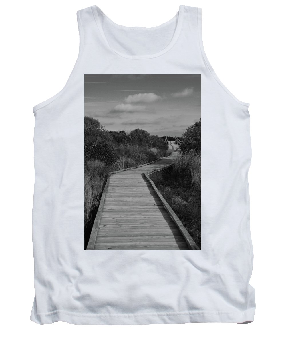 Boardwalk Tank Top featuring the photograph Boardwalk At Talbot Island by Spencer Studios
