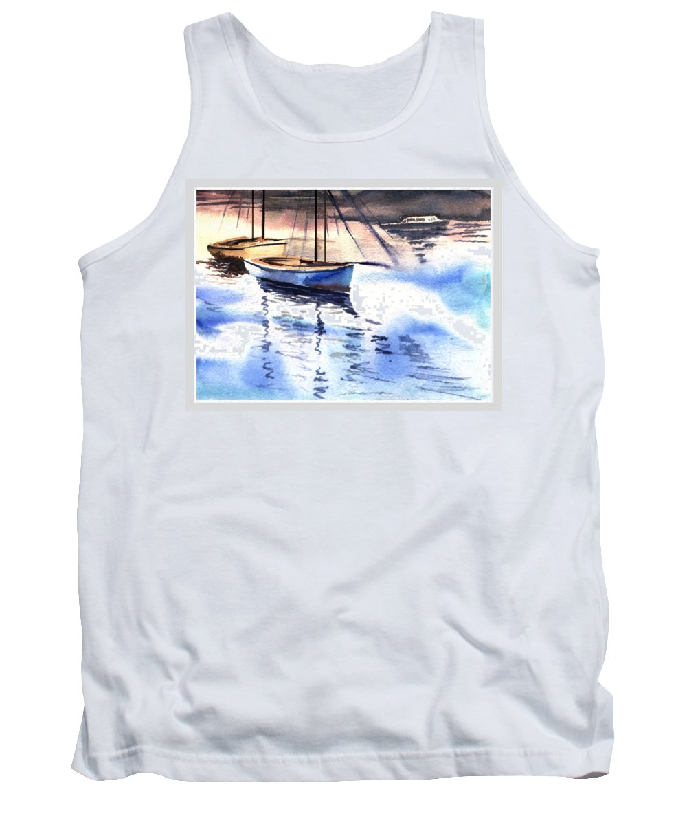 Watercolor Tank Top featuring the painting Boat And The River by Anil Nene