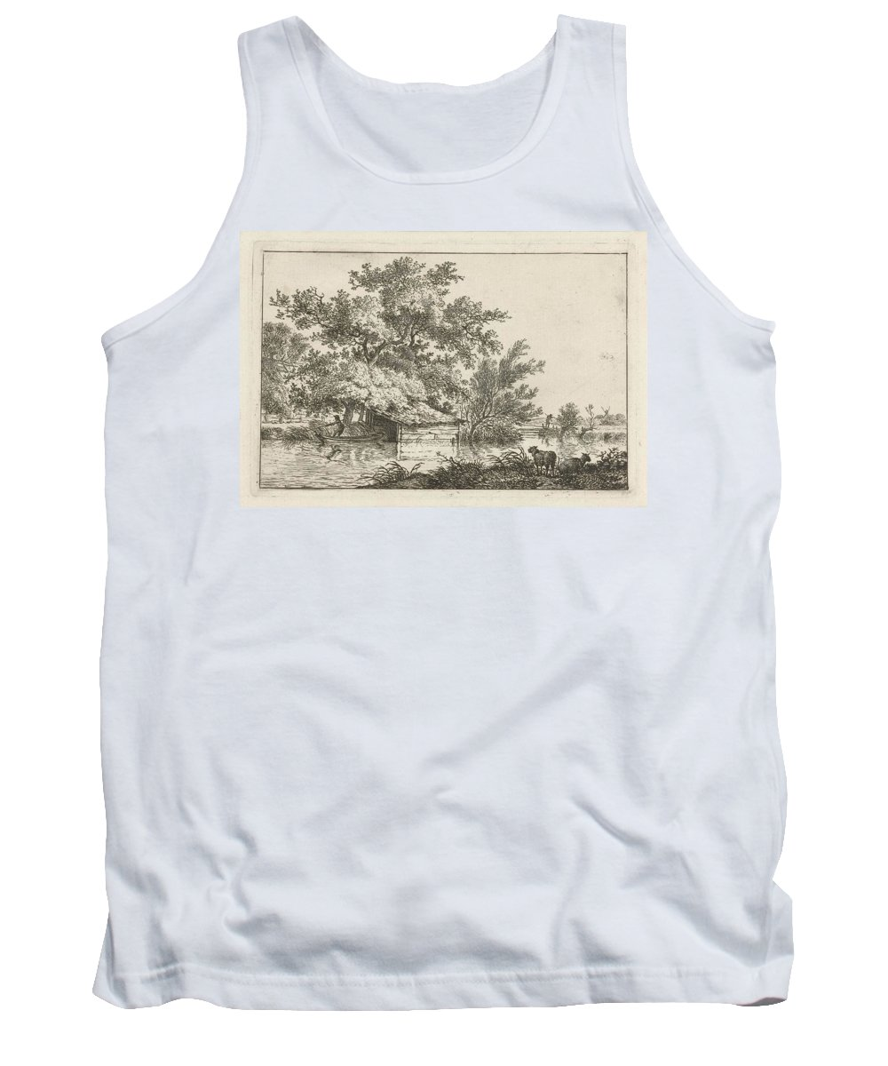 Voorkeursbeeld Tank Top featuring the painting Boat With Boathouse by Celestial Images