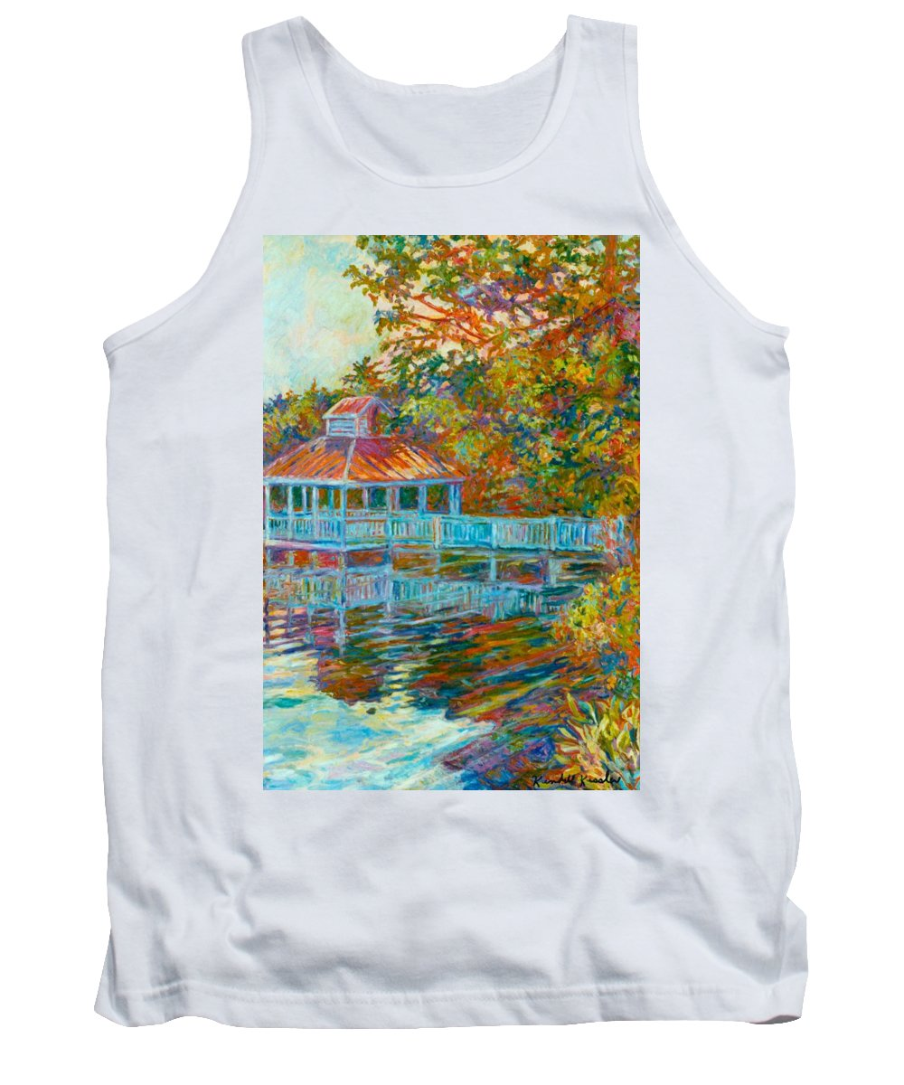 Mountain Lake Tank Top featuring the painting Boathouse At Mountain Lake by Kendall Kessler