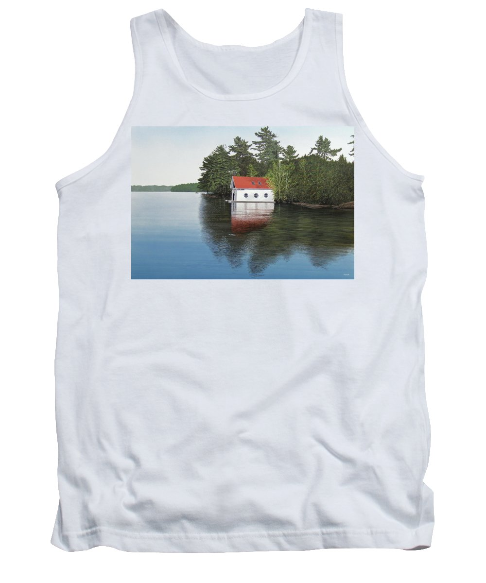 Canoe Tank Top featuring the painting Boathouse by Kenneth M Kirsch