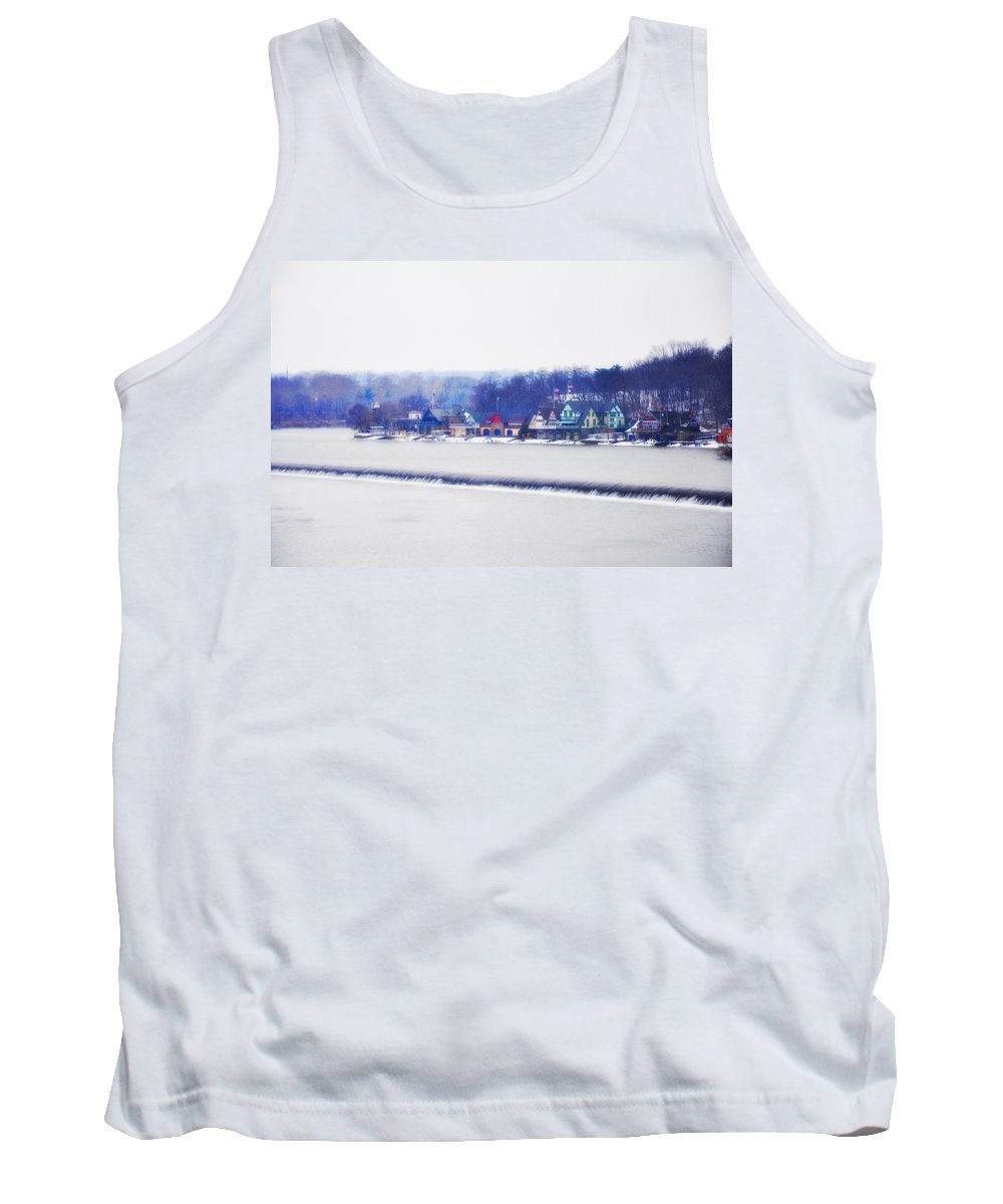 Boathouse Row Tank Top featuring the photograph Boathouse Row In Winter by Bill Cannon