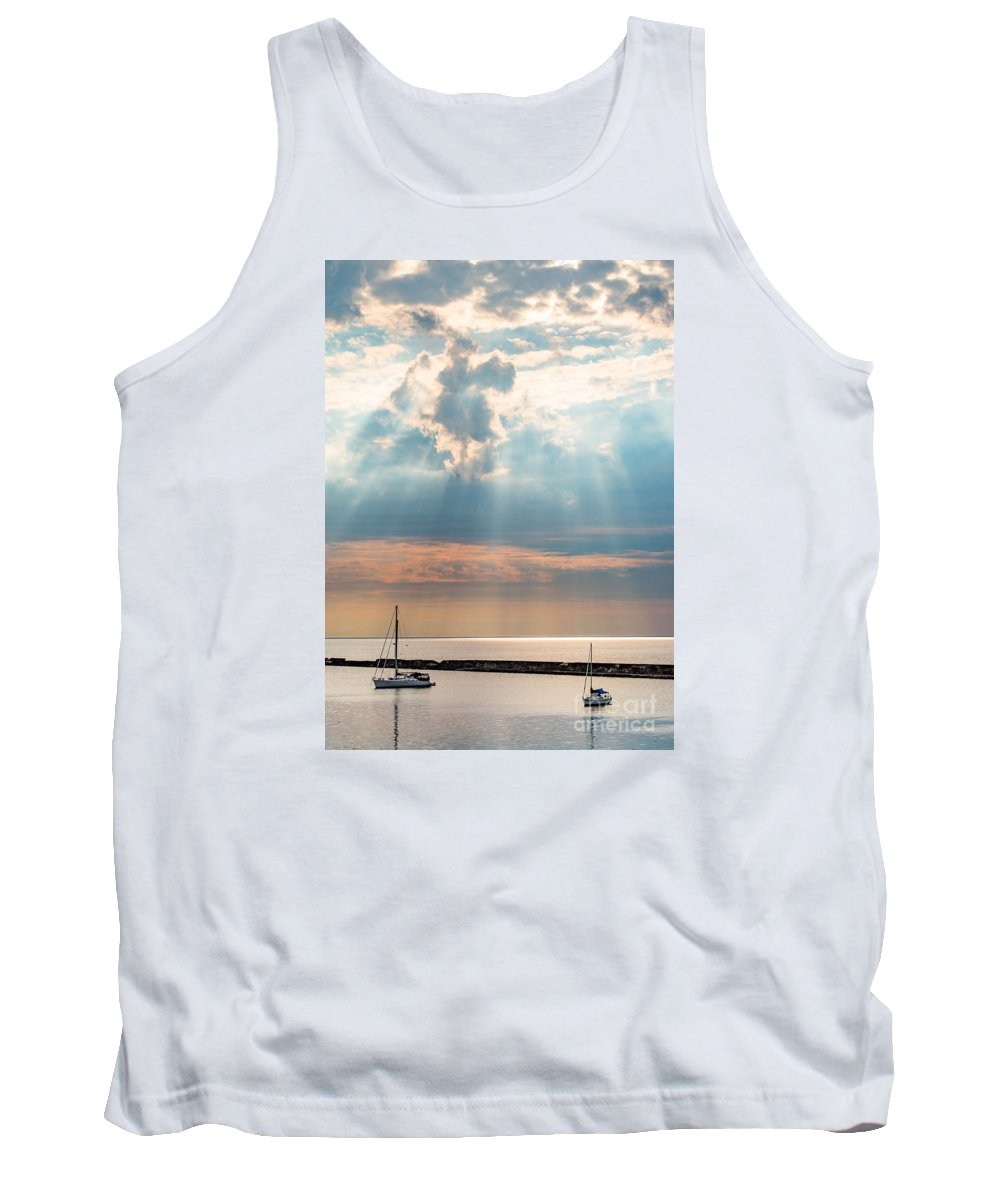 Adventure Tank Top featuring the photograph Boats In God Rays by Scott Chimber