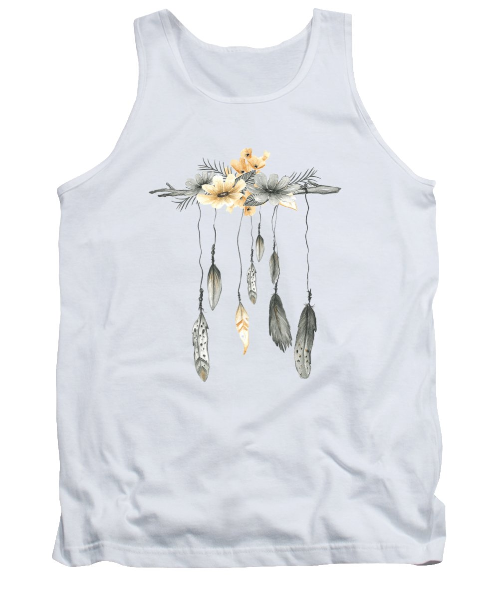Boho Tank Top featuring the digital art Boho Feathers Floral Branch by Pink Forest Cafe