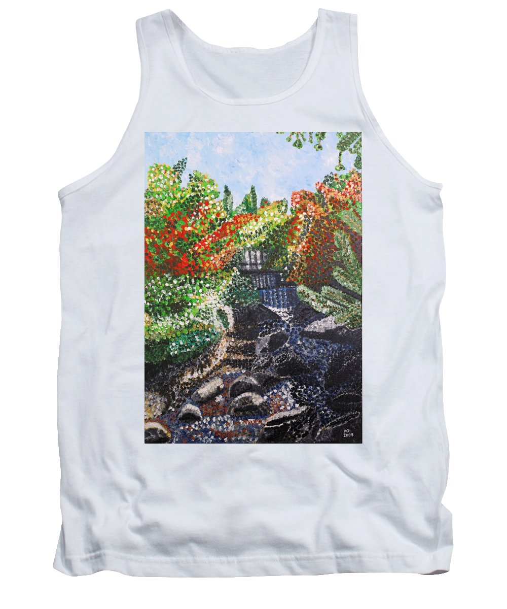 Landscape Tank Top featuring the painting Botanic Garden Merano 1 by Valerie Ornstein