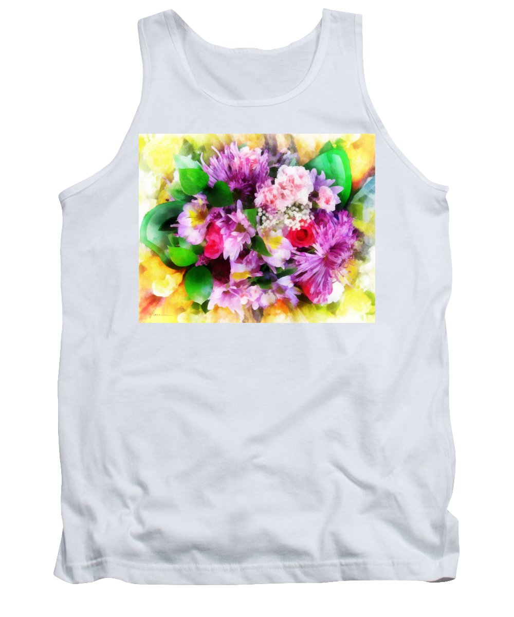 Flowers; Bouquet; Blooms; Buds; Plants; Love; Romance; Carnations; Chrysanthemums; Roses; Freesias Tank Top featuring the digital art Bouquet Of Purple by Francesa Miller
