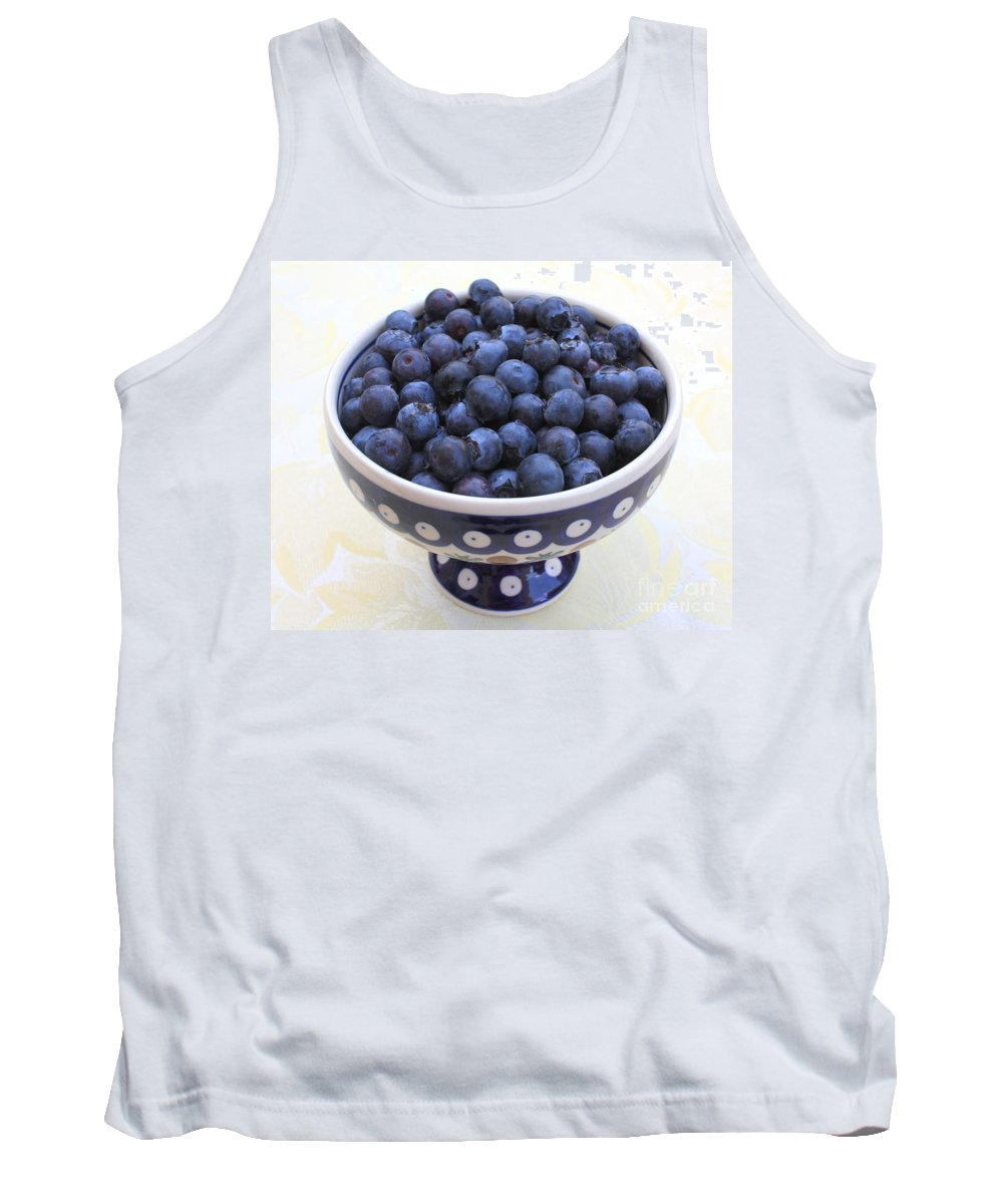 Blueberries Tank Top featuring the photograph Bowl Of Blueberries by Carol Groenen