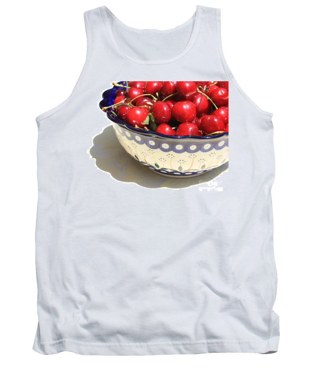 Cherries Tank Top featuring the photograph Bowl Of Cherries With Shadow by Carol Groenen