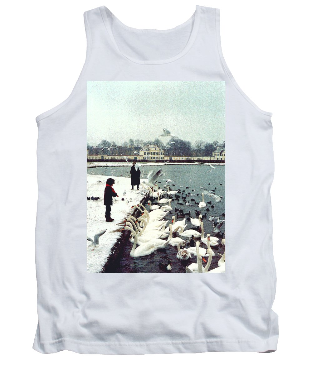 Swans Tank Top featuring the photograph Boy Feeding Swans- Germany by Nancy Mueller