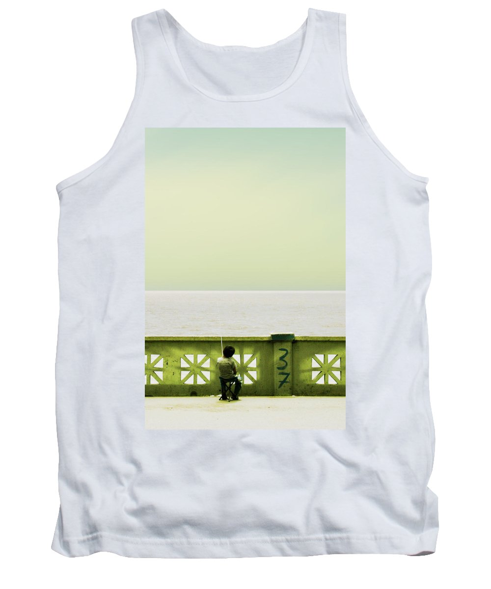 Argentina Tank Top featuring the photograph Boy Fishing by Osvaldo Hamer