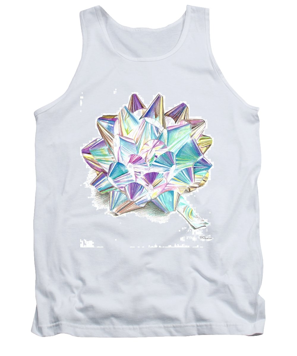 Bow Tank Top featuring the drawing Bright Ribbon by K M Pawelec