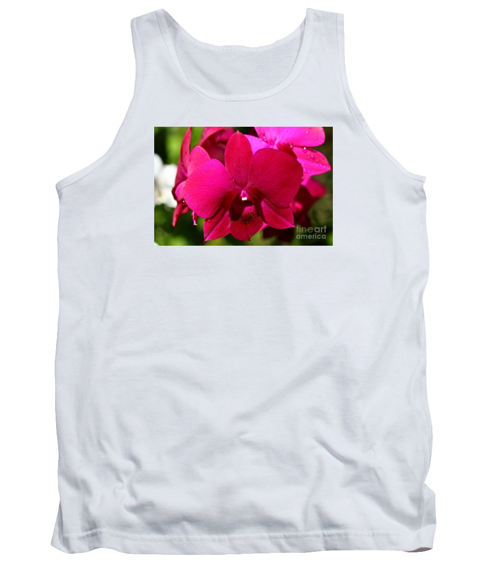 Pink Orchid Tank Top featuring the photograph Bright Scarlet Red Orchid by Christiane Schulze Art And Photography