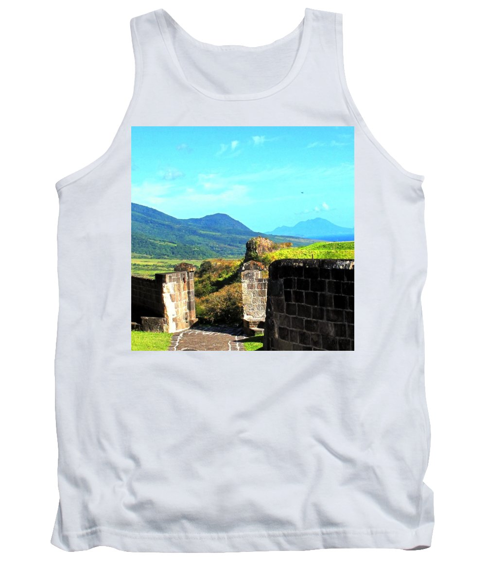 St Kitts Tank Top featuring the photograph Brimstone Towards Nevis by Ian MacDonald