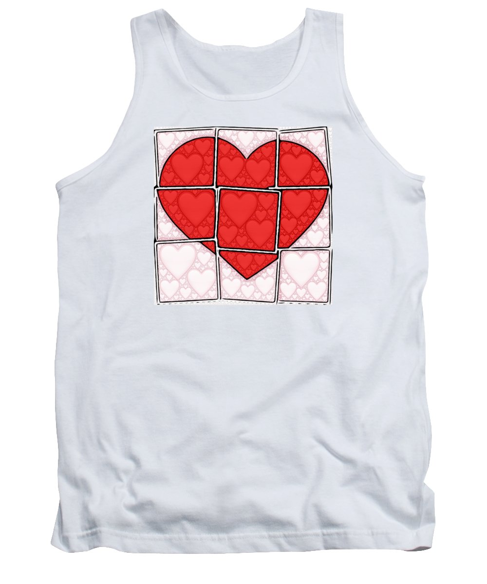 Love Heart Tank Top featuring the digital art Broken Heart by Feryal Surel