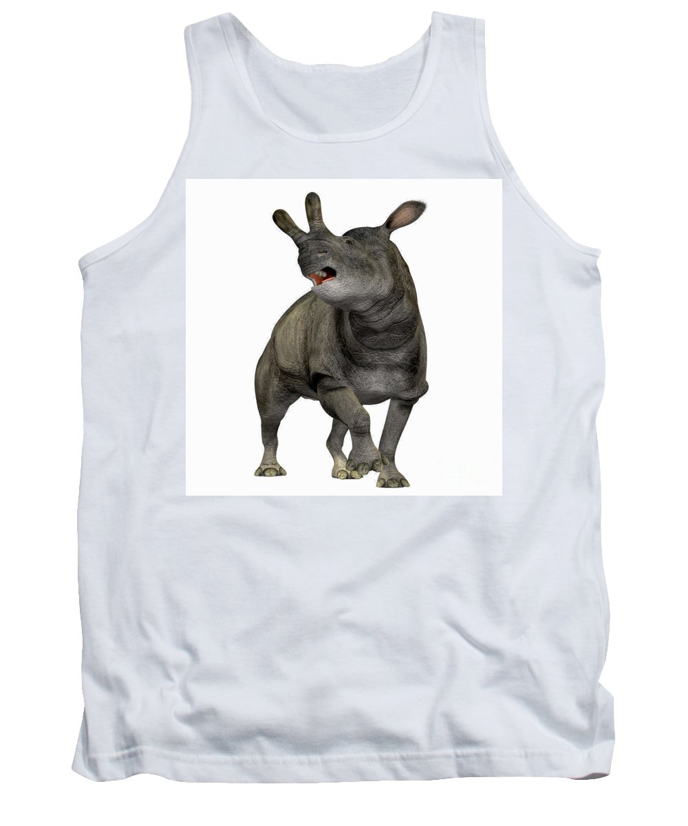 Brontotherium Tank Top featuring the painting Brontotherium Profile by Corey Ford