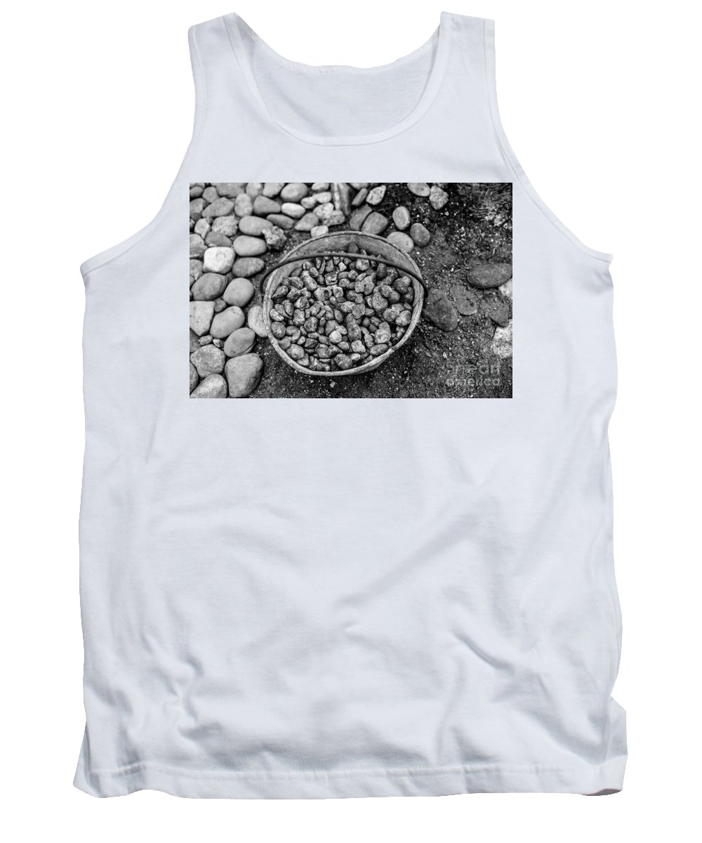 Rocks Tank Top featuring the photograph Bucket Of Rocks In Black And White by Deborah Brown