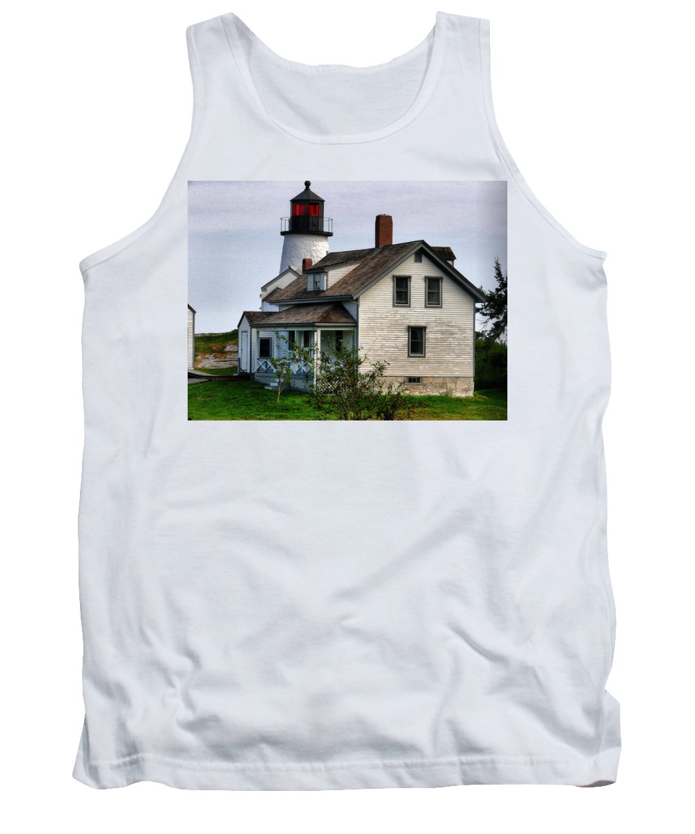 New England Lighthouse Tank Top featuring the photograph Burnt Island Lighthouse Side View by Nancie DeMellia