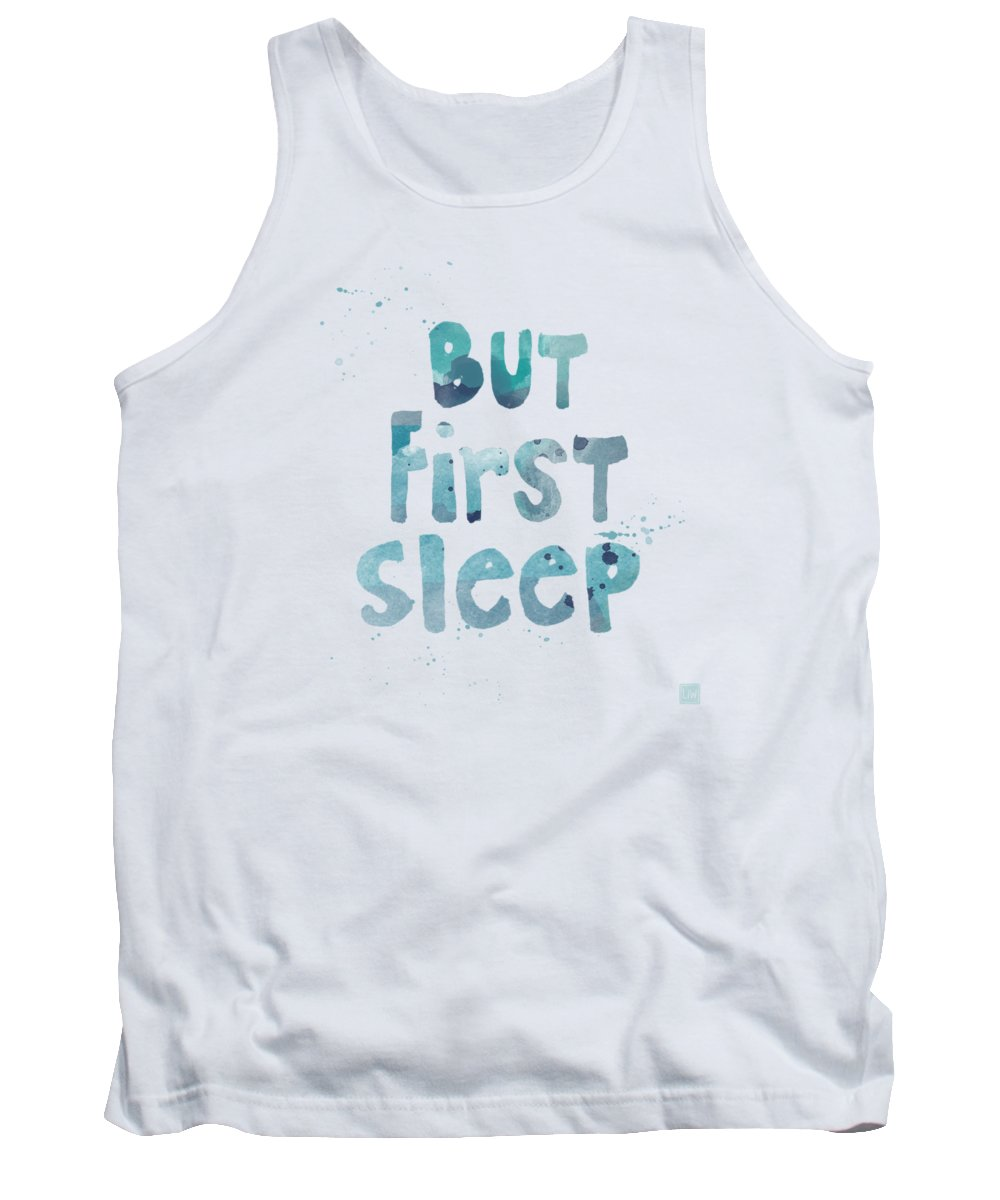Sleep Tank Top featuring the painting But First Sleep by Linda Woods