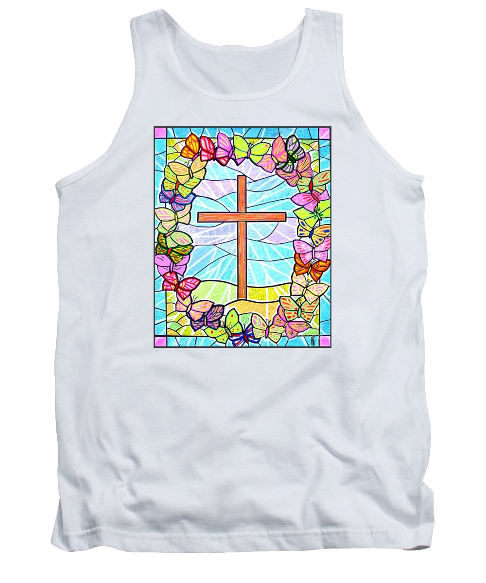 Easter Tank Top featuring the painting Butterflies And Cross by Jim Harris