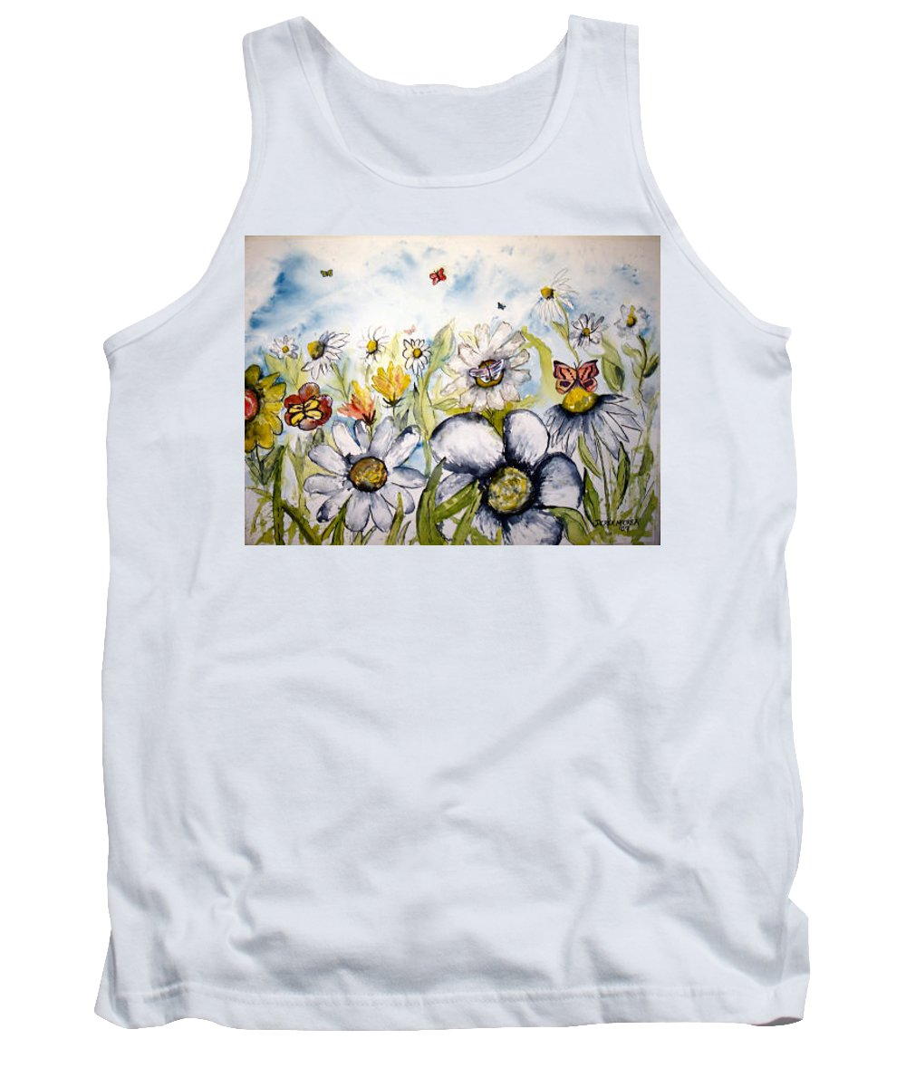 Butterfly Tank Top featuring the painting Butterflies and Flowers by Derek Mccrea