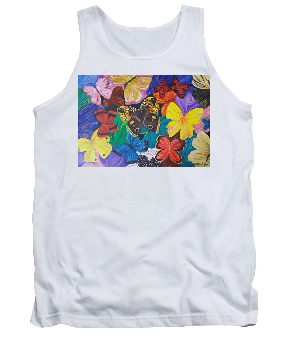 Butterfly Tank Top featuring the painting Butterflies by Rita Fetisov