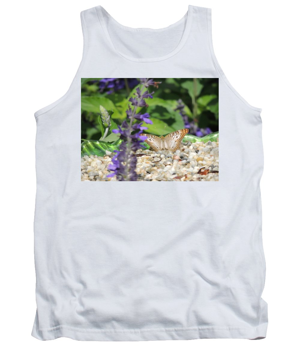 A Butterfly Resting On The Ground In A Garden. Tank Top featuring the photograph Butterfly Garden by Allison Smith