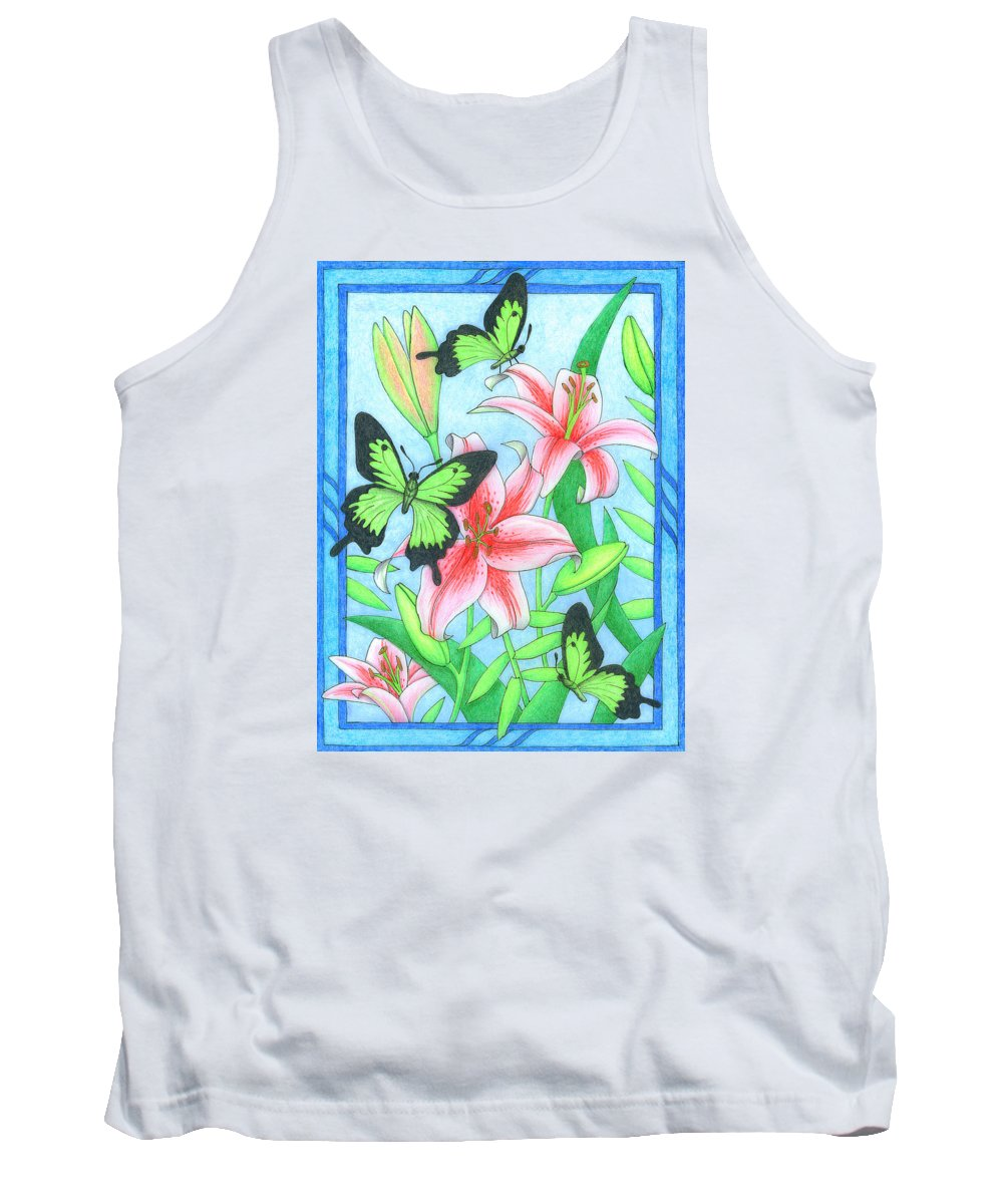 Flower Tank Top featuring the drawing Butterfly Idyll- Lilies by Alison Stein