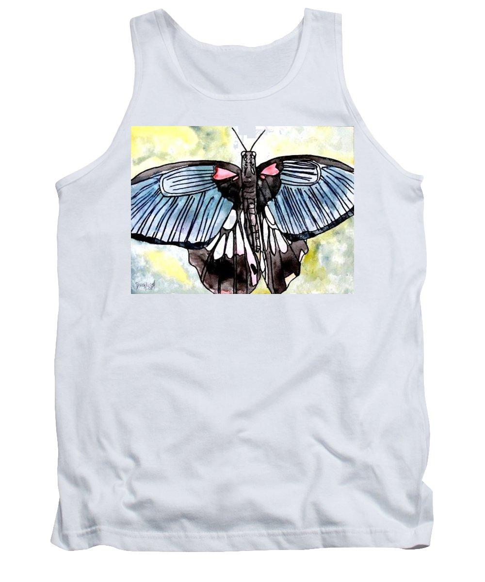 Watercolor Tank Top featuring the painting Butterfly Macro by Derek Mccrea