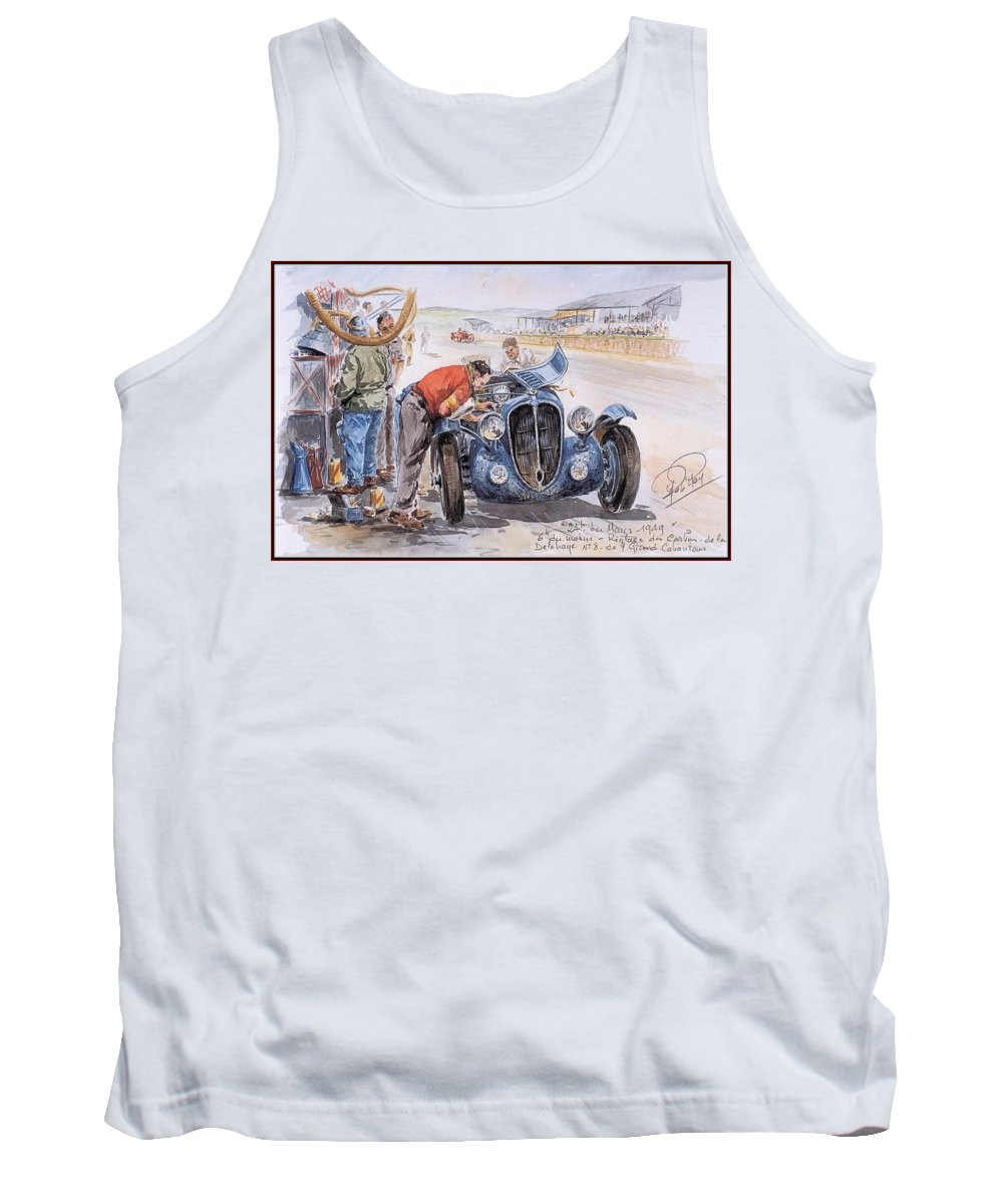 Graffito Tank Top featuring the digital art c 1949 the delahaye 135 s driven by giraud and gabantous Roy Rob by Eloisa Mannion